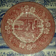 "Vintage Staffordshire England Royal Tudor Coaching Taverns 1828 Pink 7"" Plate"