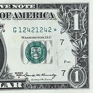 Vintage 1969 ⭐️ STAR NOTE ⭐️ Super Repeater $1 Dollar Fancy Serial Number XF