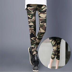 Women`s Green Camo Print Skinny LEGGINGS S-XXL Camouflage 3/4 Length Full Length