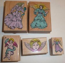 Angel Cherub Wood Rubber Stamp Lot Collection of 5 by Hero Arts 1994 Crafts