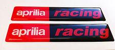 APRILIA RACING 3D domed sticker badge (Set of 2) 100 x 22mm size.
