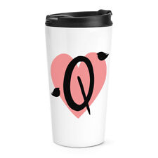Letter Q Heart Alphabet Travel Mug Cup Valentines Day Love Girlfriend Thermal