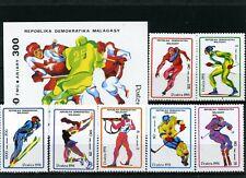 MADAGASCAR 1991 WINTER OLYMPIC GAMES ALBERTVILLE SET OF 7 STAMPS & S/S MNH