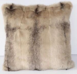 Mink Pillow Fur Kohinoor Fur Cross Case Linen Look Sofa to Live Beige Grey