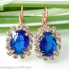 Navachi Blue Square 18K GP Crystal Rhinestone Leverback Earrings BH2075