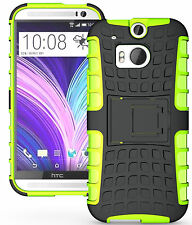 Green Heavy Duty Strong Tradesman TPU Hard Case Cover Stand for HTC One M8