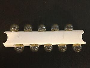 10 Lincoln 57 Clear Mini 12V Clock Instrument Panel License Lamp Light Bulbs NOS
