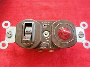 VINTAGE NOS LEVITON 5226 BAKELITE LIGHT SWITCH WITH RED PILOT LIGHT