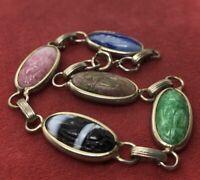 "Vintage Bracelet 7"" Scarab Beetle Egyptian Revival"