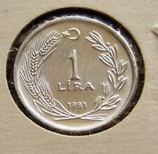 1981 TURKEY 1 Lira Coin Unc