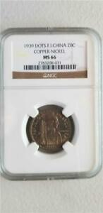 French Indochina 20 Cents 1939 Dots Copper-Nickel NGC MS 66
