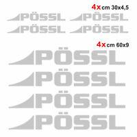 Kit completo 8 adesivi camper Pössl GRIGIO ARGENTO loghi possl caravan roulotte