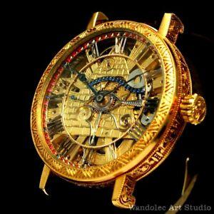 Vintage Mens Wrist Watch Gold Skeleton Mechanical Men's Wristwatch Cyma Movement
