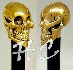 New Solid Brass Skull Head Handle Vintage Style Victorian Wooden Walking Stick