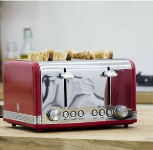 Swan Retro 4 Slice Toaster Electric Kitchen Appliance Breakfast Toast Crumpet