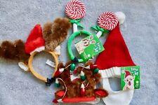NEW 4 Dog Christmas Pieces Hat, Headbands Size Small-medium