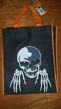 """Halloween Skeleton Black Party Treat Bag w/Feet 15"""" X 12""""  6"""" Orange Straps."""