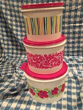 Tupperware Tropical Glamour 3 Piece Canister Set stacking New Fuchsia