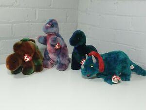 4 x Ty dinosaur Beanie Buddies Rex , Bronty , Steg , hornsly 1999 2000 2001 dino