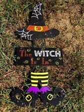 Antique Primitive THE WITCH IS IN Shoes Hat Costume Wall Decor FOLK ART Sign 17""