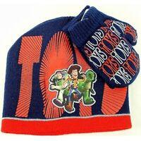 Disney Pixar Toy Story 3 Toddler Red/Navy Knit Beanie Hat & Mitten Set Sz. 2-4T