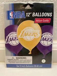"LA Lakers NBA 12"" Helium Quality Latex Balloons 6 Count"