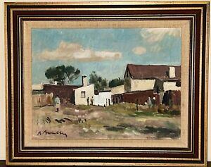Vintage ROBERT BROADLEY Oil Painting SOUTH AFRICAN Cape Town Village Framed Art