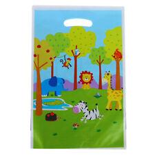 10pcs Jungle Animals Gift Bags Plastic Loot Bags Candy Bag Kids Birthday Deco SL