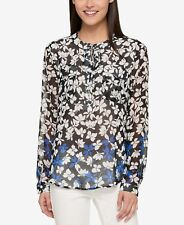Tommy Hilfiger (MY8460-51-61) Floral-Print Top Cobalt Black Sz XL $79.50
