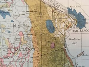 Vintage Geological Map Hartlepool Durham Area Drift Excellent Condition