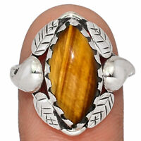 Leaves - Tiger Eye - South Africa 925 Sterling Silver Ring Jewelry s.9 AR153721