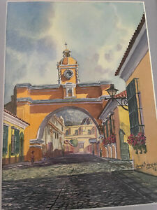Jorge A. Morales (b.1973)Watercolor Santa Catalina Arch Guatemala, Signed