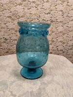 Vintage Bullicante Rigaree Art Glass Vase By Rainbow Glass Company Missing Lid