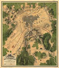 1863 Map Battle of Gettysburg Civil War Map Military Poster Wall Art History