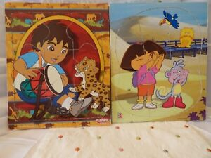 2 Dora the Explorer and Diego Wooden Tray Puzzles Playskool Mattel 2002 2008