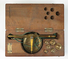 Continental apothecary or gold coin pan scales with gram weights c1890