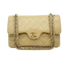 Chanel Double Flap Medium Chain Beige Leather Shoulder Bag