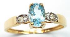 LADIES 9KT YELLOW GOLD OVAL BLUE TOPAZ & DIAMOND RING SIZE 7    R1148