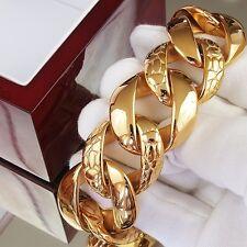 24K Gold Plated Men Stainless Steel Bracelet Chain Heavy Weight Bling Massive xx