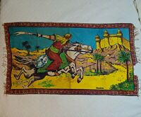 "Vintage Arabian Nights Felt Tapestry Signed Ozmekik 51"" x 29"" Decor"