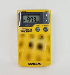 Sangean DT-400W Digital AM/FM Pocket Radio Weather Alert  Yellow USED