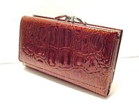 CROCODILE PRINT COWHIDE LEATHER LADIES CLUTCH MEDIUM WALLET  BROWN