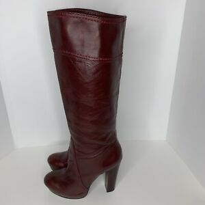 VINCE CAMUTO Womens Sz 7 Burgundy Laird Model Leather Platform Heeled Boots