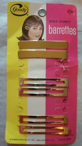 Goody Stay Tight Barrettes Vintage 1960's 3 Sets 4 Gold 2 Silver USA Made 8924
