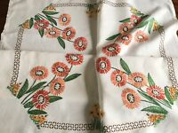 "VINTAGE HAND EMBROIDERED  WHITE LINEN TABLECLOTH 41x43"" Ready To Use"