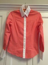 T M Lewin Ladies Blouse Size 6 In Orange/White Stripes