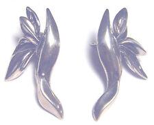 Chic Vintage Sterling 925 Kabana Modernist Leaf Earrings -posts