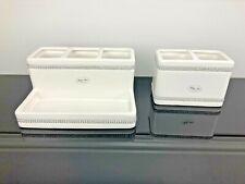 2pc BELLA LUX Rhinestone Crystal White Bathroom Accessories Holder Toothbrush