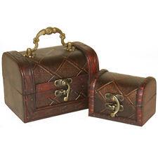 Set Of 2 Diamond Design Chests Trinket Jewellery Boxes Trunks Treasure