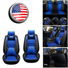 Deluxe Full Set Car Seat Cover Front Rear PU Leather Universal Cushion Blue Mat